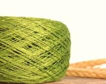 Linen Yarn, Grass Green #030 High Quality, Linen Yarn For Crochet, Knitting, 100 g/3,5 oz