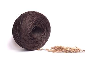 Dark Brown Linen Yarn,  #038 High Quality, Linen Yarn For Crochet, Knitting, 100 g/ 3.5 oz