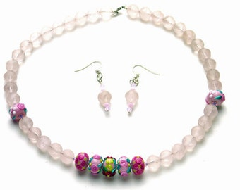Set: Earrings and Necklace with Asteroid Rose Quartz, Handmade Lampwork, and Swarovski Crystals