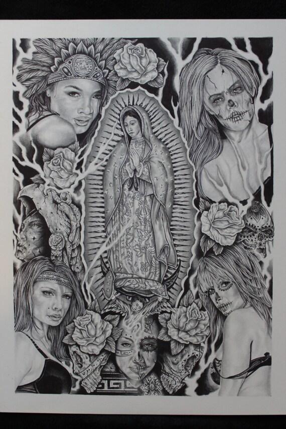 Items similar to Virgin Mary Tonantzin Drawing on Etsy