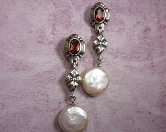 Garnet and White Freshwater Coin Pearl Sterling Silver Earrings
