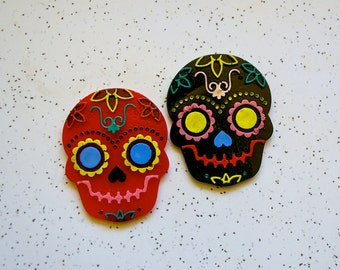 Sugar skull necklace, large, resin, opaque, Mexican, Day of the Dead, Los Muertos, rockabilly, rocker, retro, punk, human skull. No 1