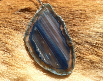 Agate geode slabed necklace with sterling silver chain