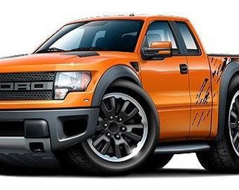 2010-2013 Ford Raptor Truck 4x4 vinyl decal wall graphic officially licensed product, custom art easy installation on walls, windows, etc.