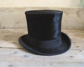 antique French 1900s Collapsible Top Hat Made in France - Paris Edwardian, victorian era - MaisonW
