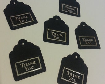 Set of 24 - Black Thank You Gift Tags