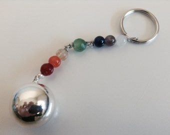 7 Chakras Angel Caller Key Chain with Silver Ball