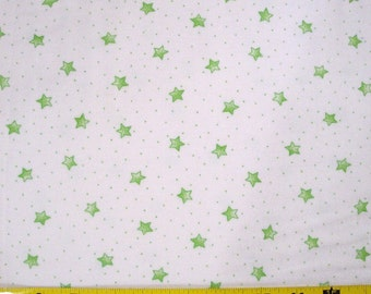 "A.E. Nathan Co., ""Comfy Flannel,"" White with Green Stars Quilting Fabric Sold by the Half Yard"
