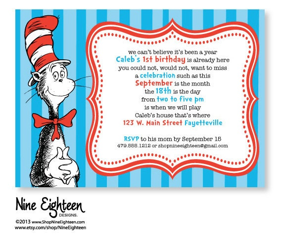 Cat In The Hat Birthday Party Invitations for nice invitations ideas