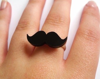 Cute Black Adjustable Moustache Mustache Ring, Quirky, Retro, Movember, Geekery, Geek, Nerd