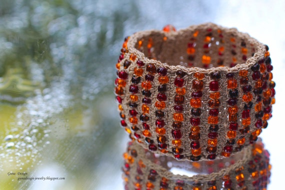 Crochet Bracelet Cuff with Amber Color Beads by gunadesign