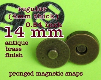 14mm regular magnetic snaps (4mm thick) - available in nickel and antique brass finish - Choose from 267, 600, and 1500 sets