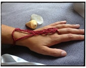 Earthy Red Macrame Ring Bracelet