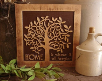 "11 x 11 Carved Wooden Sign ""Home is Where it All Begins"" Nature inspired tree design best house warming gift best wedding gift!"