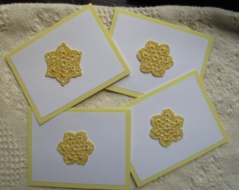 Yellow note cards, blank note cards, greeting cards, yellow, crocheted flower, crocheted cards, set of four