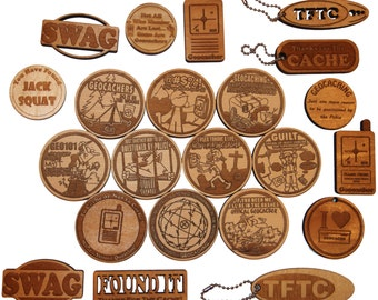 50 Random Geocaching Swag wooden tokens