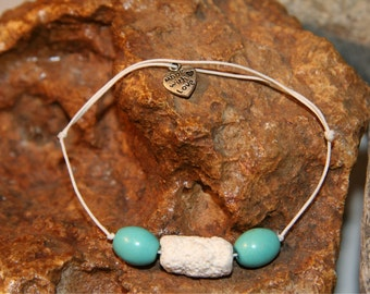 "Bracelet stone from volcano beads wood ""Tectonics"" inspired from Nature design summer by Sunstone Legend"