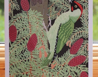 Green woodpecker - Greeting card hand titled and signed