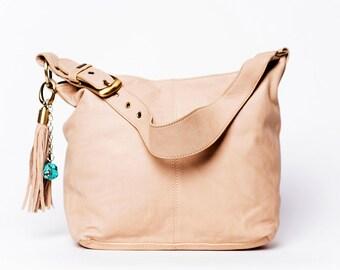 Handbag Classic/ full grain leather/ size large/ peach puff #28