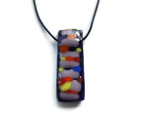 fused glass necklace,rectangle glass pendant necklace,blue and colorful fused necklace, blue fused glass necklace, fused glass pendant
