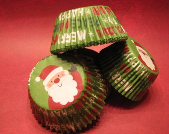50 Premium Santa Christmas Holiday Cupcake Wrappers/ Baking Cups/ Cupcake Liners
