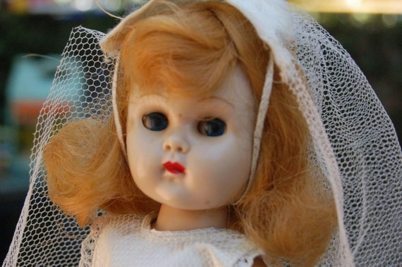 1950's REAL Ginny Doll Bride and Gown made by Vogue Doll