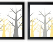 Tree Print Tree Wall Decor Grey and Yellow Trees Abstract Tree Art Print Set of 2 Bathroom Modern Minimalist