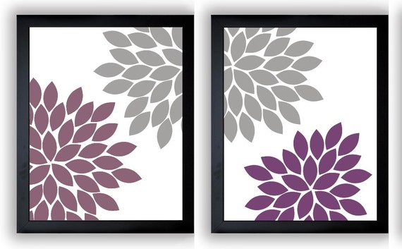Flower Print Grey Gray Purple Plum Chrysanthemum Flowers Set