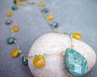 Faceted autumn jasper and yellow jade briolettes knotted with czech fire polished beads necklace