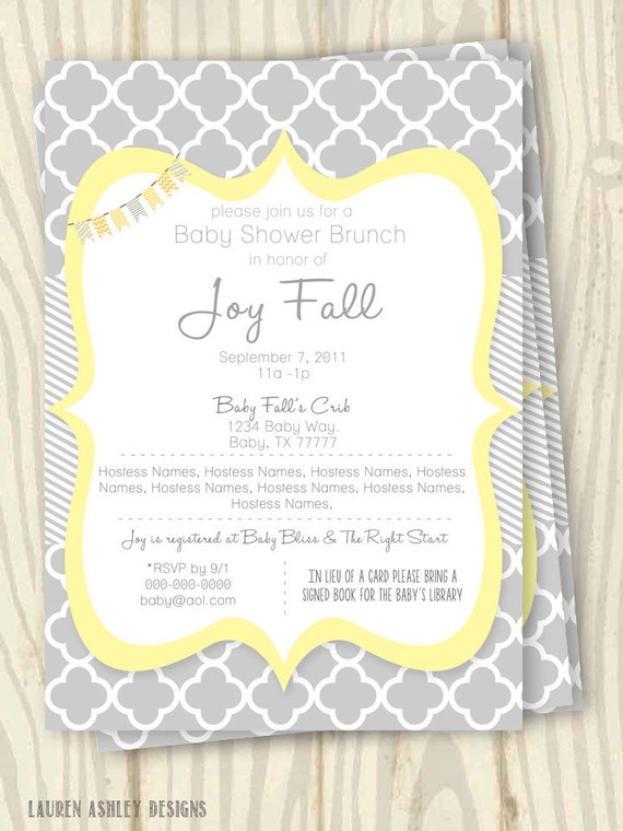 yellow and grey baby shower party pack