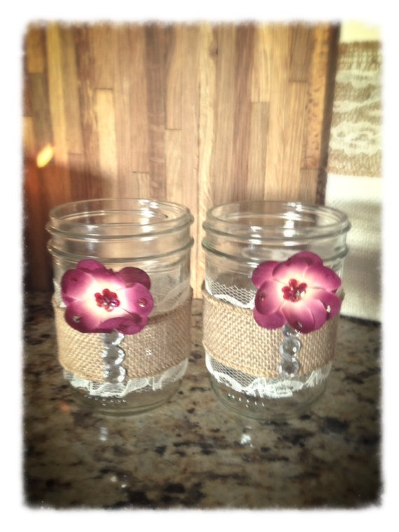 Items similar to Set of 2 Pint Mason Jar Candle Holders ...