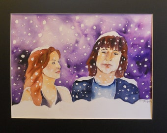 Snowy Day 20 x 16 matted watercolor with frame