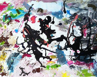 Original 100x70cm abstract painting named Demons #1