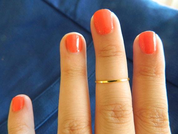 ONE Gold Midi Finger ring knuckle Ring, Midi Ring, Mid finger Ring