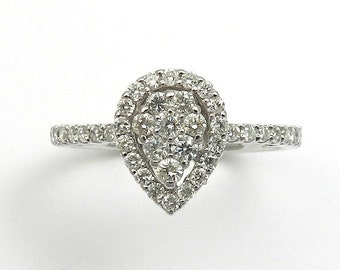 Natural Diamond Engagement Ring Solid 18kt White Gold Ring