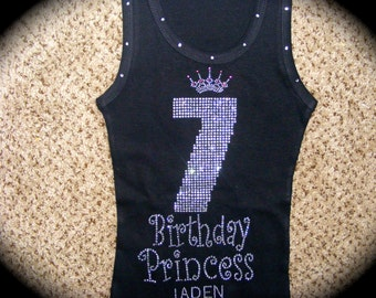 Personalized Princess Birthday Shirt. 4th birthday shirt. 5th birthday shirt. rhinestone 7th birthday shirt. Embroidered 5th birthday shirt.
