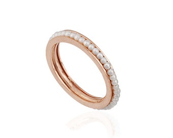 14K Solid  Rose Gold Eternity Pearl Ring MLSS078