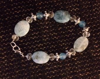 Elegant aquamarine and crystal bracelet