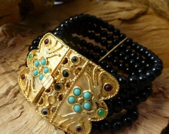 WIDE Onyx,Brass and Turquoise multi strand bracelet,fabulous clasp.