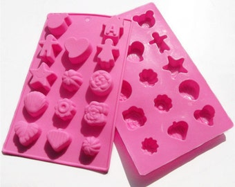 DIY Cake Mold Soap Mould 14-Mixed Heart Star Flexible Silicone Mold Candle Candy Chocolate Cake Fimo Resin Crafts