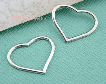 20 pcs Heart charms--Shiny Silver Heart Charm pendants,heart Connector 22x27mm