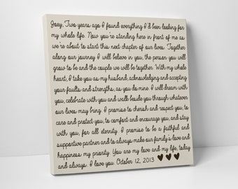 Wedding Vow Art, Gift for Him or Her