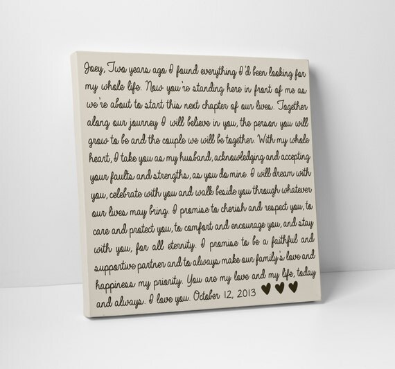Wedding Vow Art Gift For Him Or Her
