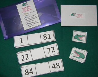 Greater than Less than-single and double digits-Teacher Made math game-Classroom center-Educational resource tool-file folder game-learning