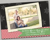Christmas Card Template - Chalkboard Snowflakes - One Side - 5x7 .PSD File