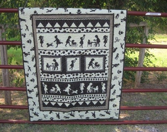Silhouette Girls baby or child's quilt