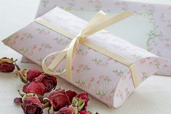 Shabby Chic Pillow Boxes : Printable wedding pillow box -pink shabby wedding favour box template -Digital gift box with ...