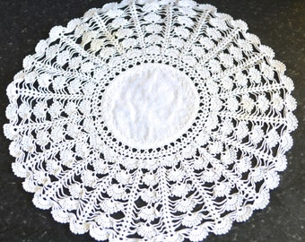 "Vintage Hand Made Lace Doily Table Mat - The Quintessential Decoration for Your Tea Party -  9 1/2"" Circular -"