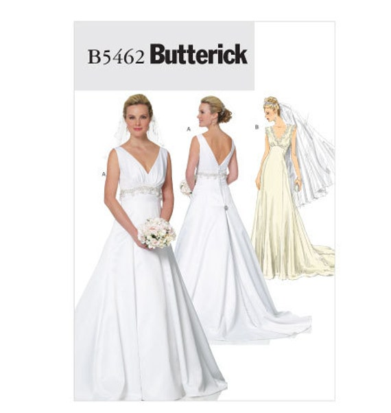 Butterick pattern b5462 wedding gown sizes 8 10 12 14 for Butterick wedding dress patterns
