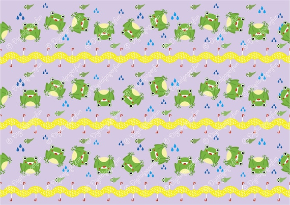 items similar to seamless background pattern of cartoon frog in the rain for fabric printing. Black Bedroom Furniture Sets. Home Design Ideas